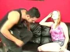 Blonde chick spanking her lover