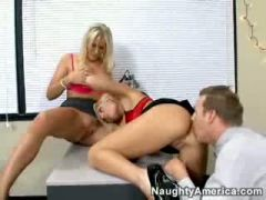 Two hot Blond office girls & office dong