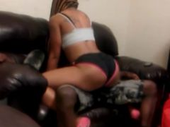 Black girl giving lapdance in booty shorts sexy