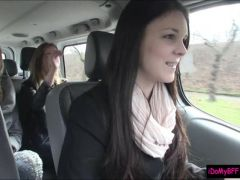 Horny bff sluts picked up a guy and fucked him in the car