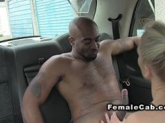 Busty cab driver bangs black customer