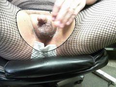 Me shaving in the office wearing bodystocking.