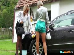 Babes get horny while washing car by allWam