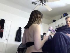 Skinny brunette plays with another pussy and gives head on