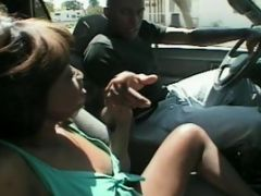 Ebony Gets A Cum On Tits From A Guy With Erect Wang