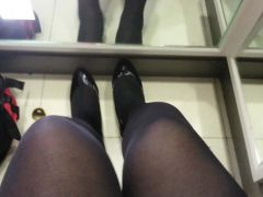 Black Patent Pumps with Pantyhose Teaser 3