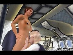 Sexy 3D Cartoon Blonde Stewardess Getting Fucked