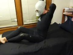 Jerk off in wetsuit, butts, motorcycle gloves, and gasmask