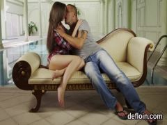 Kissable teenie gapes slim pussy and gets deflowered