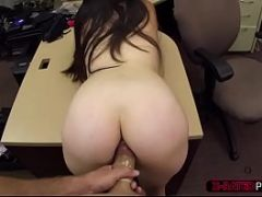Horny brunette ex dominatrix sells her stuff and gets banged by Shawn