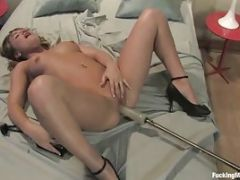 Hot Brunette Babe Gets Fucked By A Sex Machine