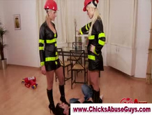 Hot Fem Dom fire fighters dominate loser