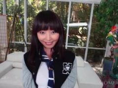 Little asian school doll plays with her nipples