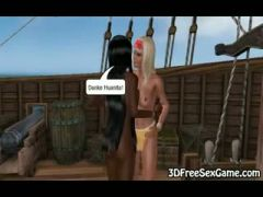 Toon babes jerk off a pirate on his pirate ship
