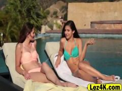 Ellena and Nina enjoy lesbian action outdoors