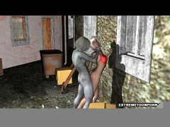 Busty 3D cartoon babe gets fucked outdoors by a zombie  HD