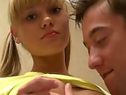 Blonde teen sucking and getting screwed by guy