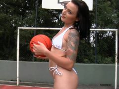 Hot fuck on the basketball ball