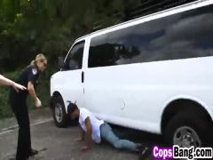 Interracial threesome with female cops