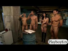 Kinky women hot foursome in the jailcell with two hoorny men  HD
