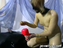 Latex Fem Dom in our basement