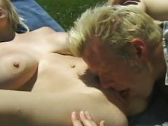 Spunk Guzzler Is Pussy-fingerred By A Mature Guy By The Farm