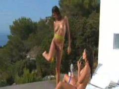 girls angry with gardening hose