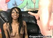 White Dick Inserted Very Roughly Down Black Girls Throat