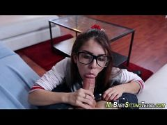 Teen sitter in glasses