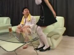 Asian Fetish Maid Teases Customer