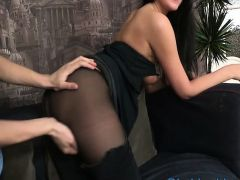 See how guy is stuffing mouth, pussy and ass of sexy girl